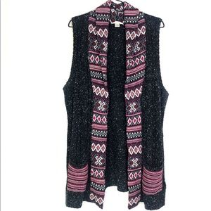 CJ Banks Sleeveless Sweater Aztec Cardigan 1X